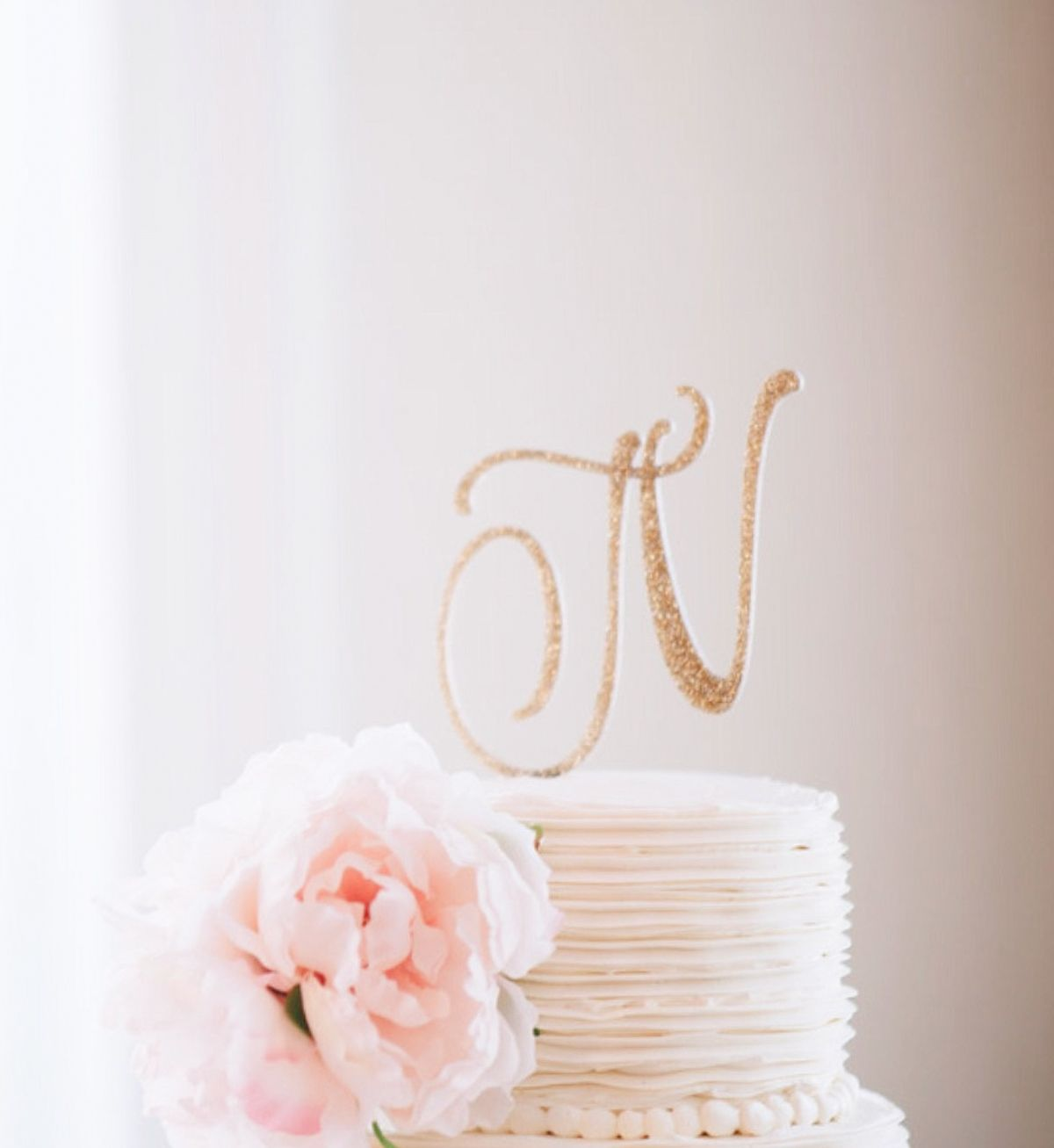 Personalized Letter Wedding Cake Topper in Gold Glitter Acrylic ...