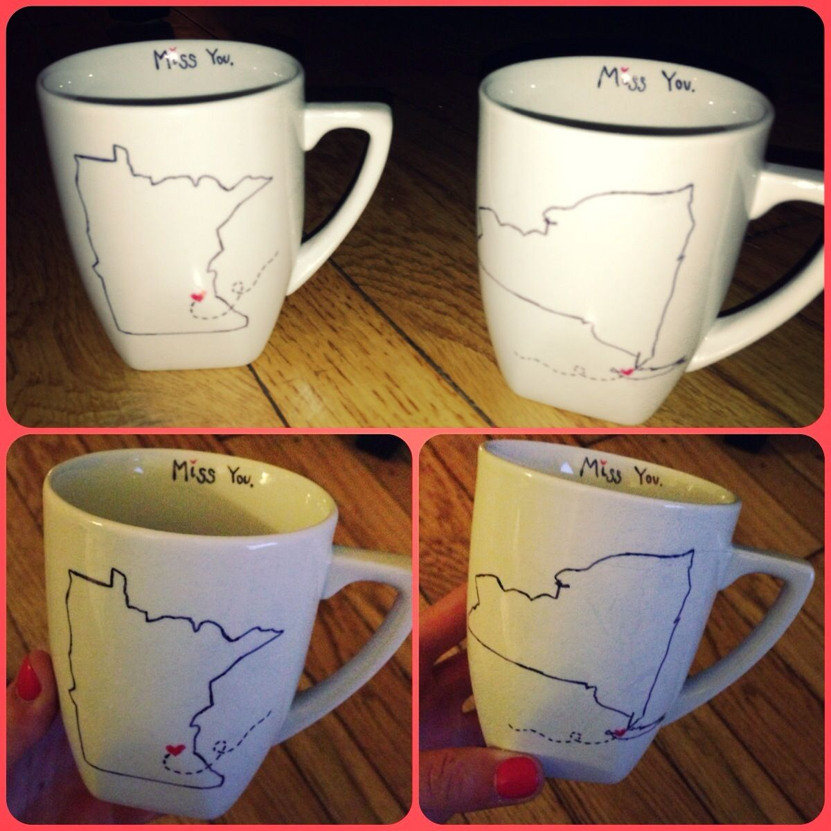 Diy Homemade Long Distance Relationship Coffee Mugs Easy Inexpensive And Cute