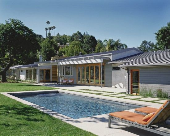 Metal Roof Concrete Path Modern Pools Modern Renovation House