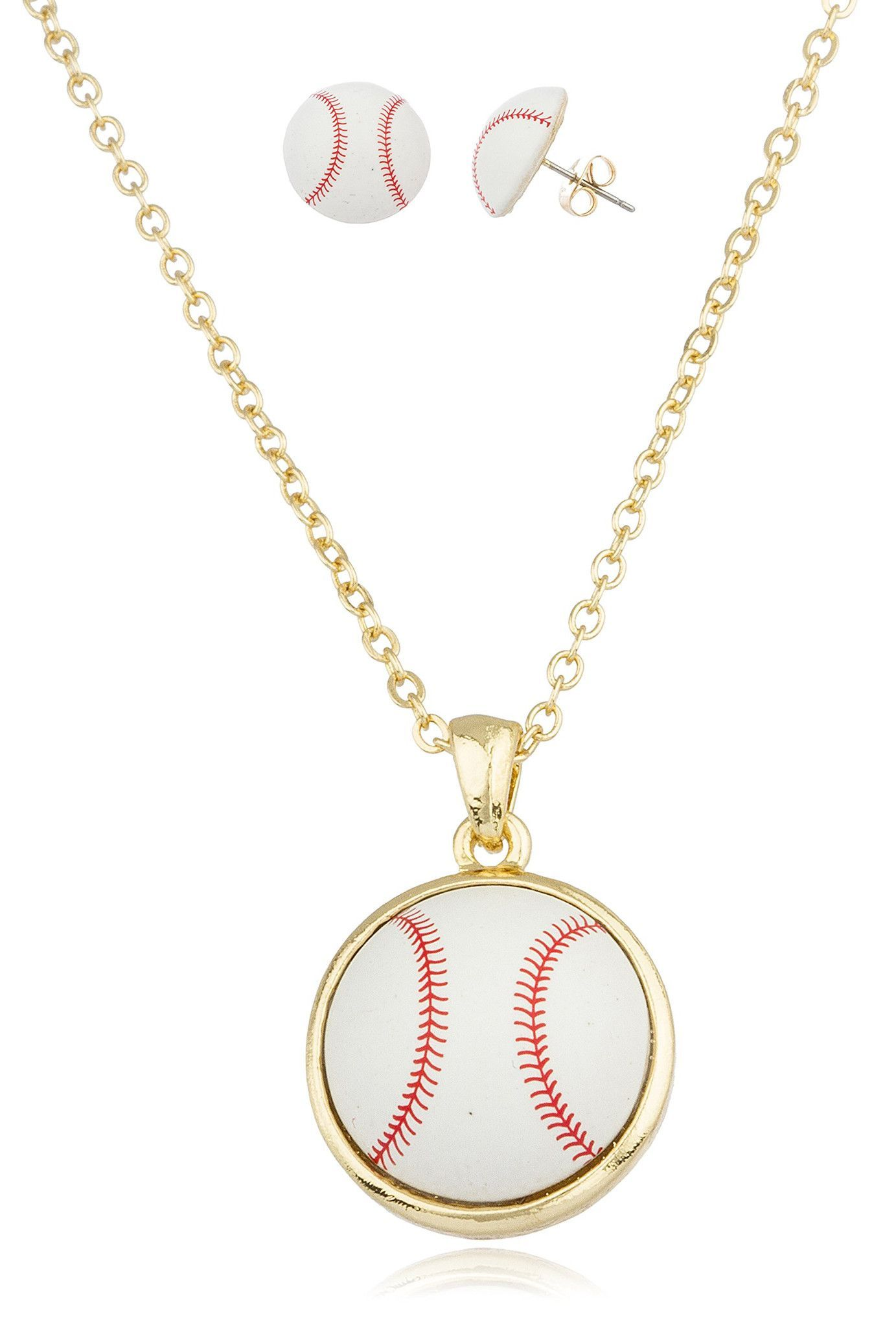 Goldtone with white baseball pendant with an 18 inch link necklace goldtone with white baseball pendant with an 18 inch link necklace and matching earrings jewelry set aloadofball Gallery
