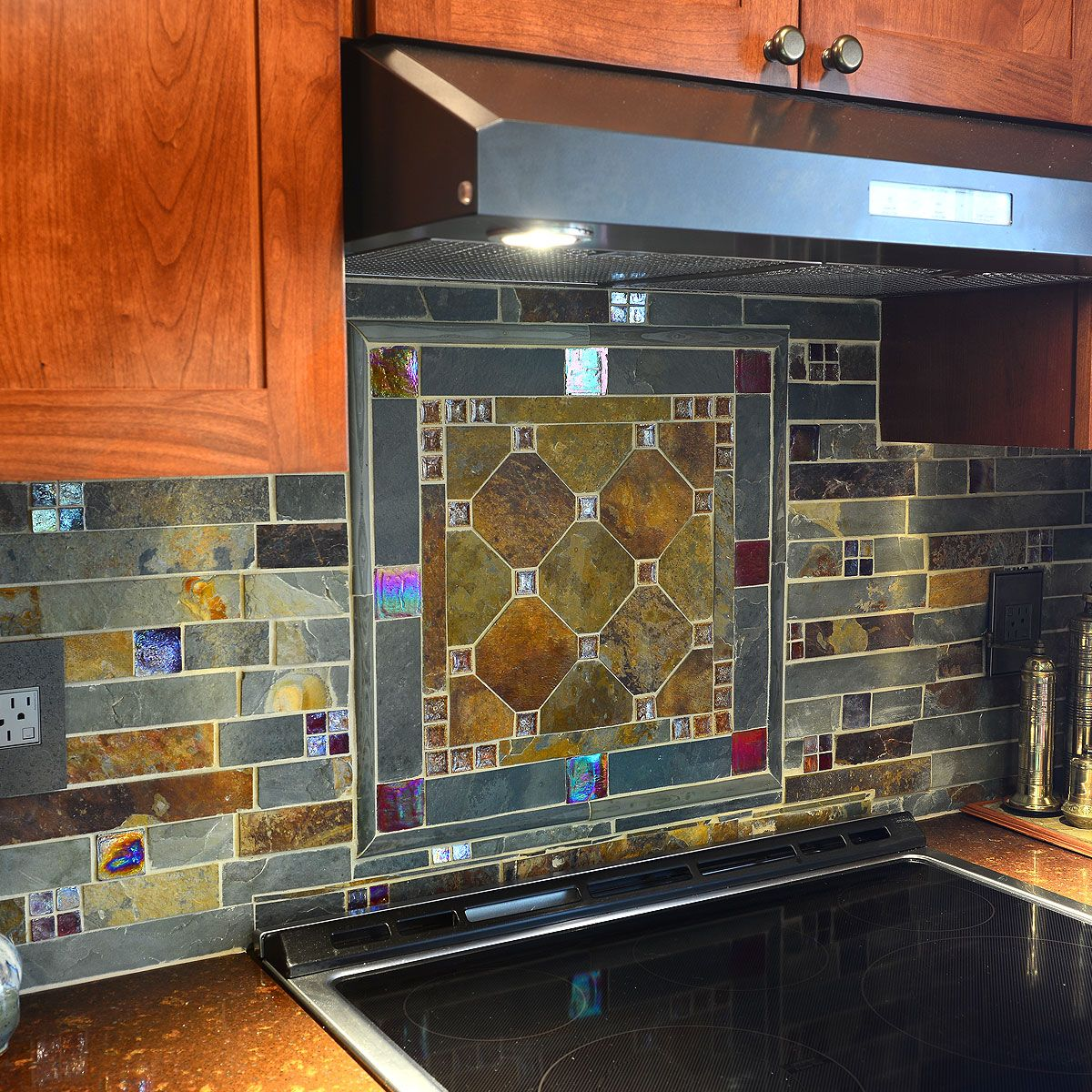 - Subway Slate Glass Mosaic Kitchen Backsplash Tile Kitchen Tiles