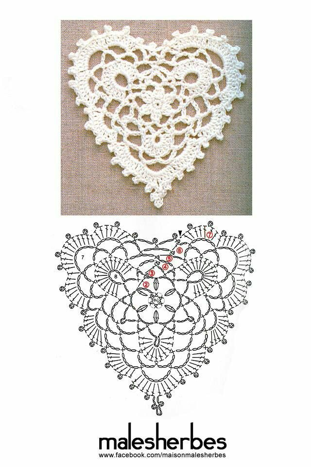 Pin de Crafts n Christmas en Crochet: Heart   Pinterest
