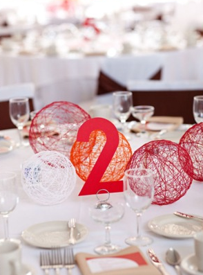 cool/easy table decorations. wrap/glue twine around balloons, pop them, and you get these!