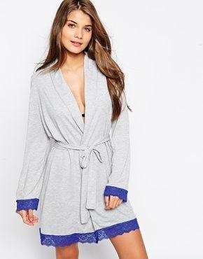 ASOS Lace Trim Jersey Robe