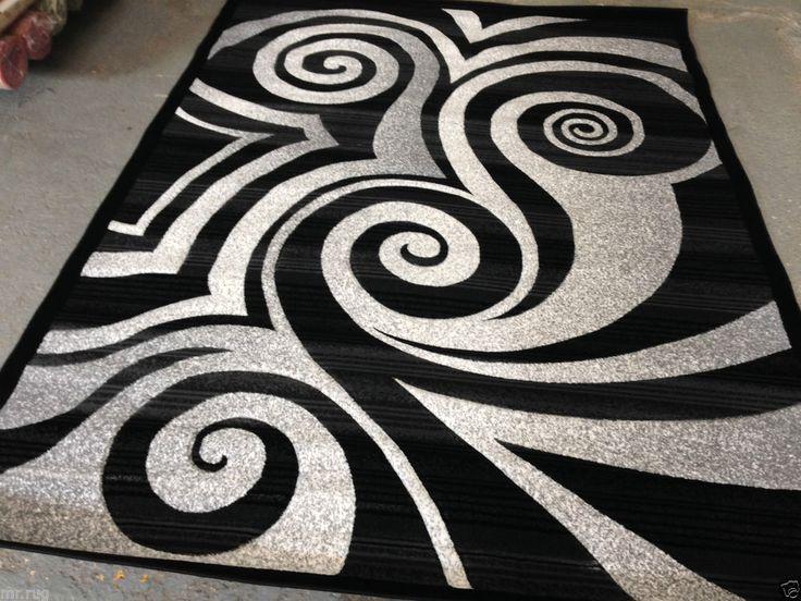 Κύκλος Γκρι Χαλί Σύγχρονη κύκλο κουβέρτα περιοχής Μαύρο Λευκό Κύκλοι Στροβιλίζεται βούρτσα μοτίβο 6 Gray Rugswhite