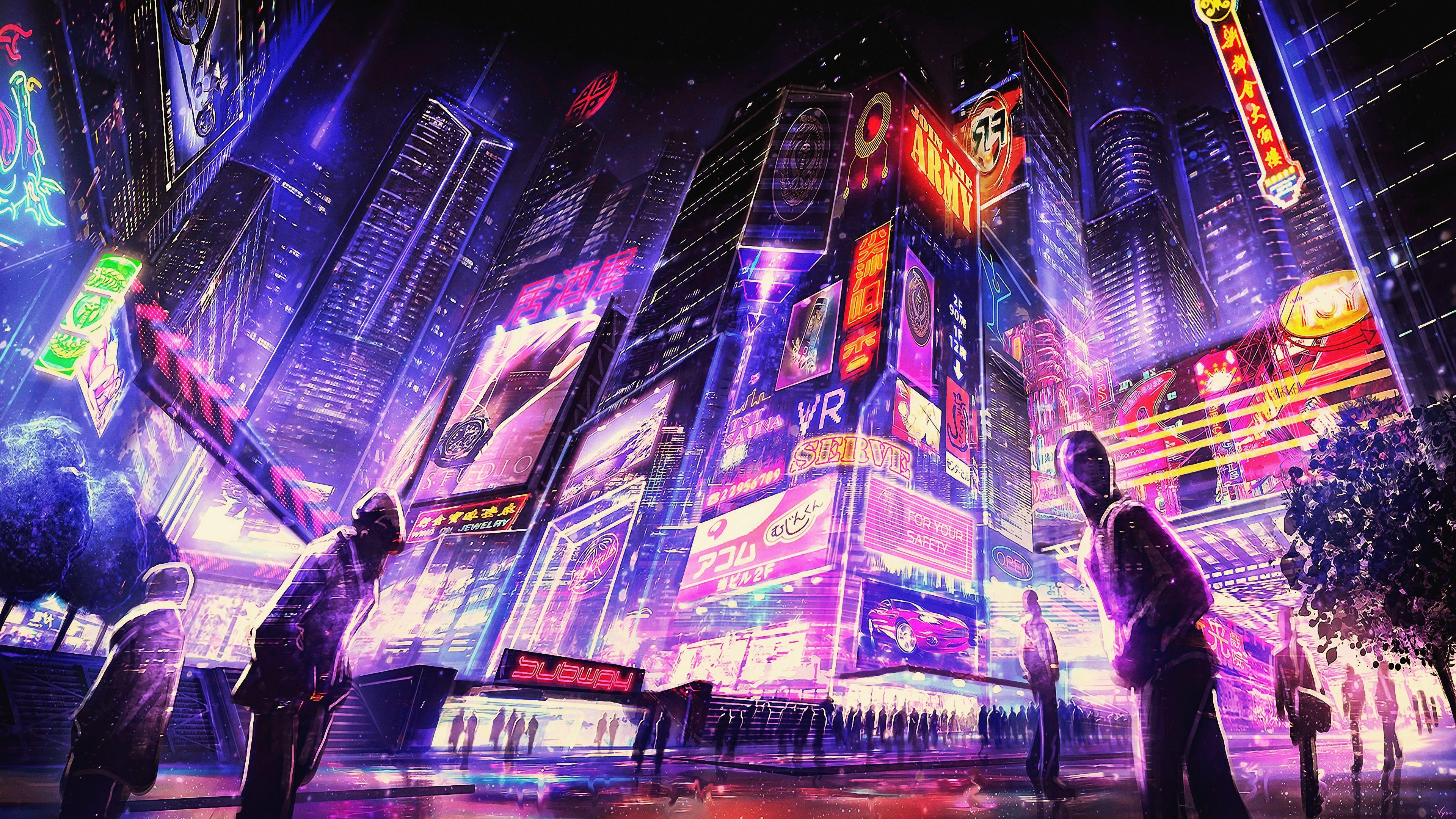General 3840x2160 Night Cyberpunk Futuristic City Artwork Digital Art Concept Art Fantasy Art Futuristic City Cyberpunk City Futuristic City Sci Fi Wallpaper