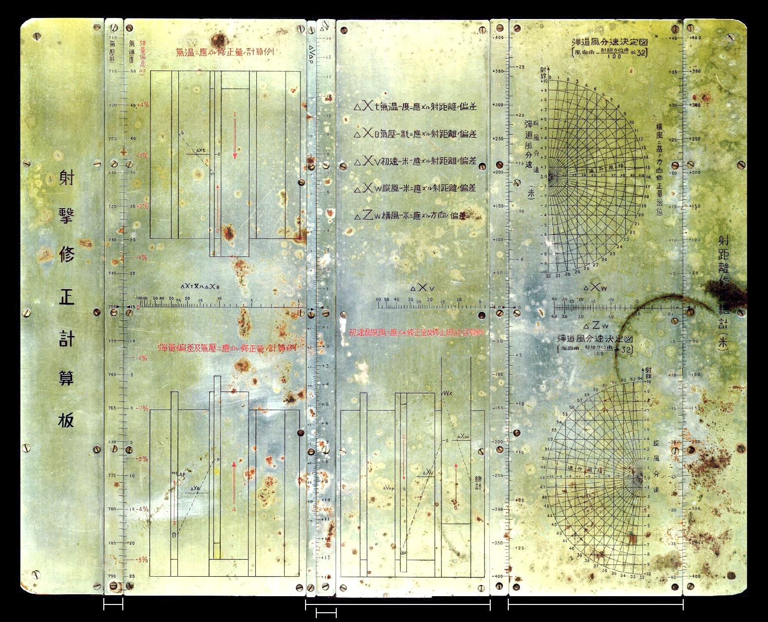Intense Japanese slide rule used for gunnery corrections. Beautiful texture.