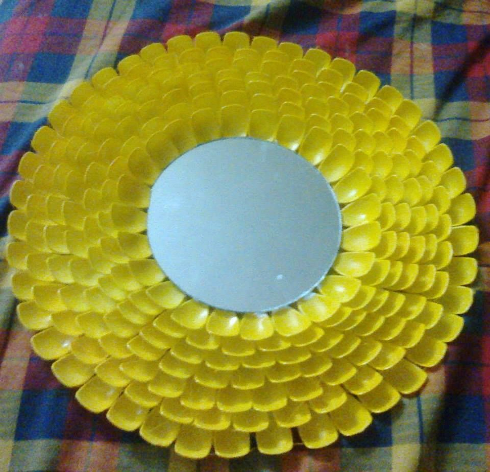 mirror decoration with plastic spoons | class room material ...