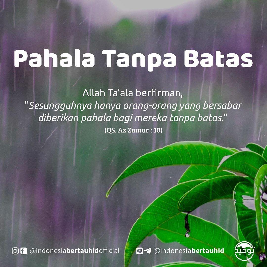 Indonesia Bertauhid Official On Instagram Pahala Tanpa Batas Allah Ta Ala Berfirman Sesungguhnya Hanya Or Positive Quotes Islamic Quotes Self Reminder