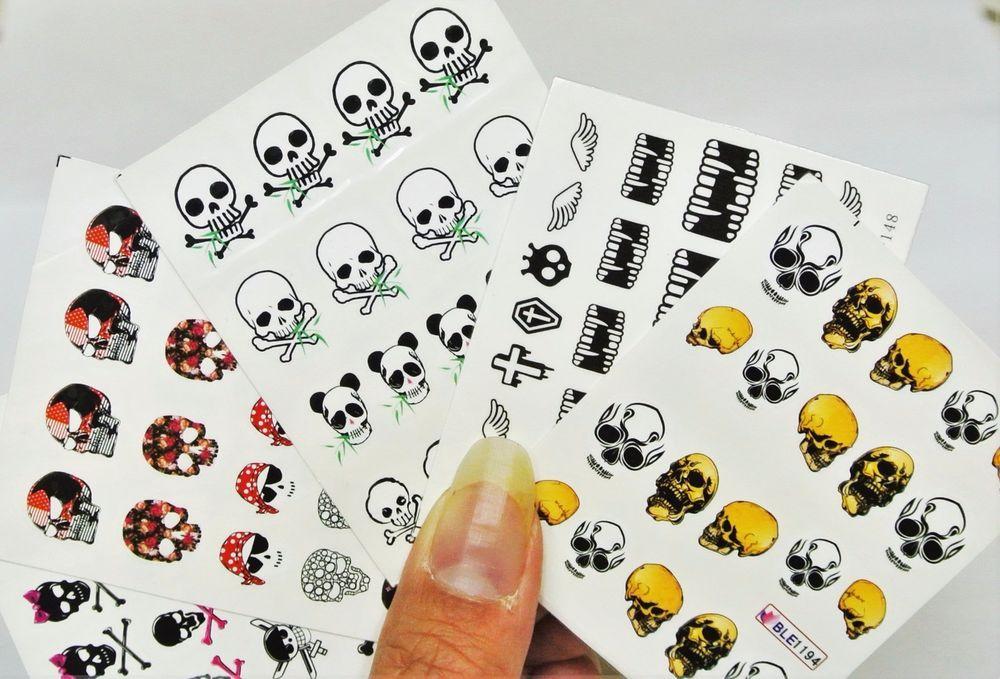 5 Sheets Skull Nail Decal Gothic Nail Art Ebay Nail Art