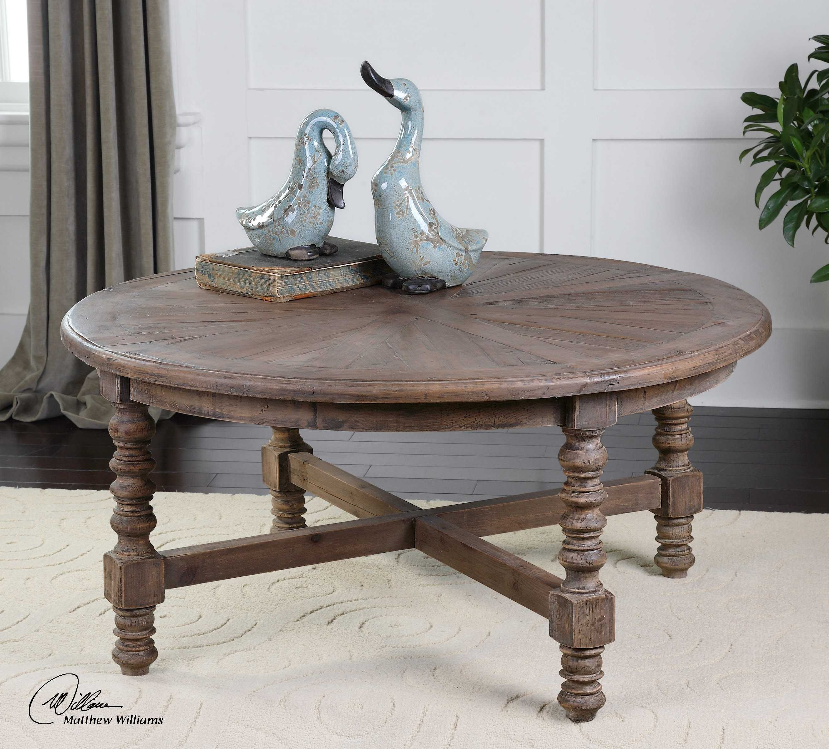 Uttermost Samuelle 42 Round Wooden Coffee Table Coffee Table Wood Reclaimed Wood Coffee Table Coffee Table [ 2400 x 2658 Pixel ]