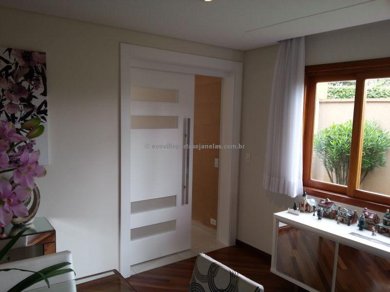 Porta Badezimmer ~ Porta com montante de madeira maciça metalon de ferro no interior