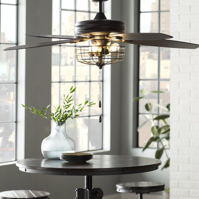 "52"" Glenpool 5 Blade Ceiling Fan, Light Kit Included ..."