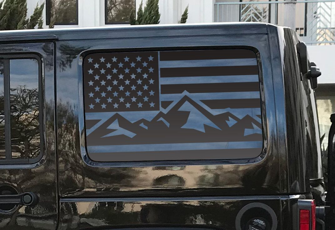 American Flag Decals For Jku Jeep Wrangler Hardtop Side Windows Mountain Flag Camping Flag 4 Door Hs20 By Thepaddockfacto Jeep Jku Jeep Decals Flag Decal