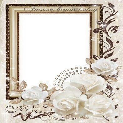 Free wedding png frame photo frame psd wedding white roses - Free ...