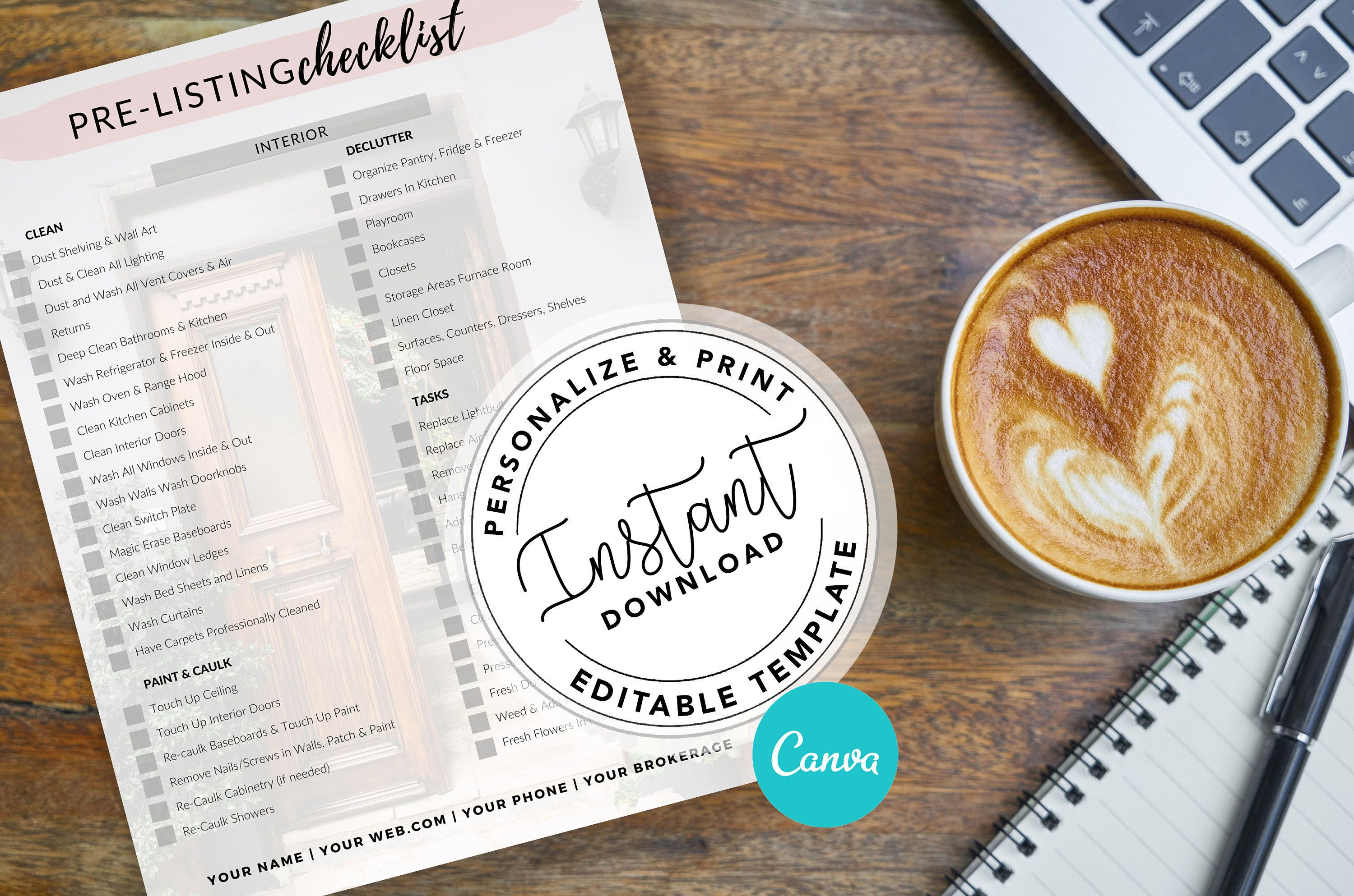 Real Estate Home Selling Checklist | Printable Pre Listing Checklist | Realtor Home Seller Checklist | Real Estate Marketing |Canva Template