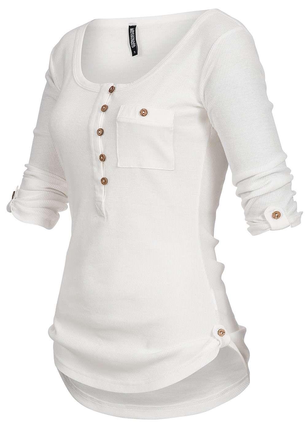 ffa2b4ad4ab015 Hailys Damen Shirt 3 4 Turn-Up Ärmel halbe Knopfleiste Brusttasche weiss -  77onlineshop