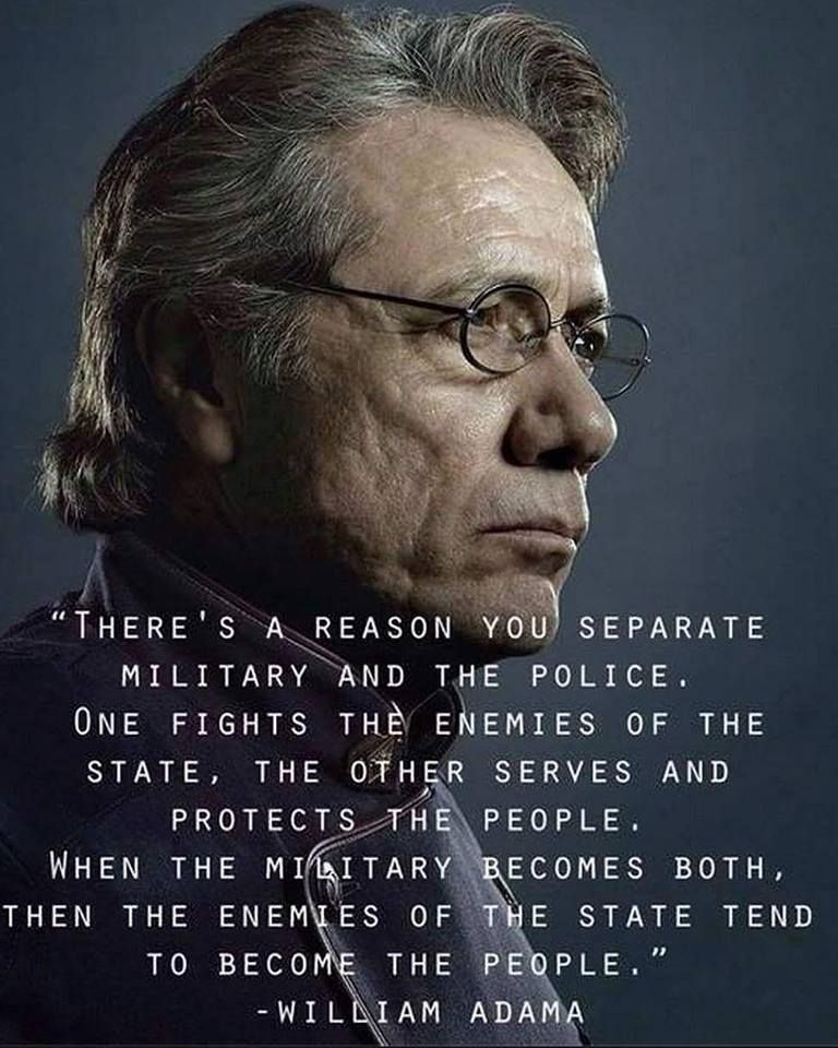There's a reason you separate military and the police. One fights the enemies of the state, the other serves and protects the people. when the military becomes both, then the enemies of the State tend to become the people.