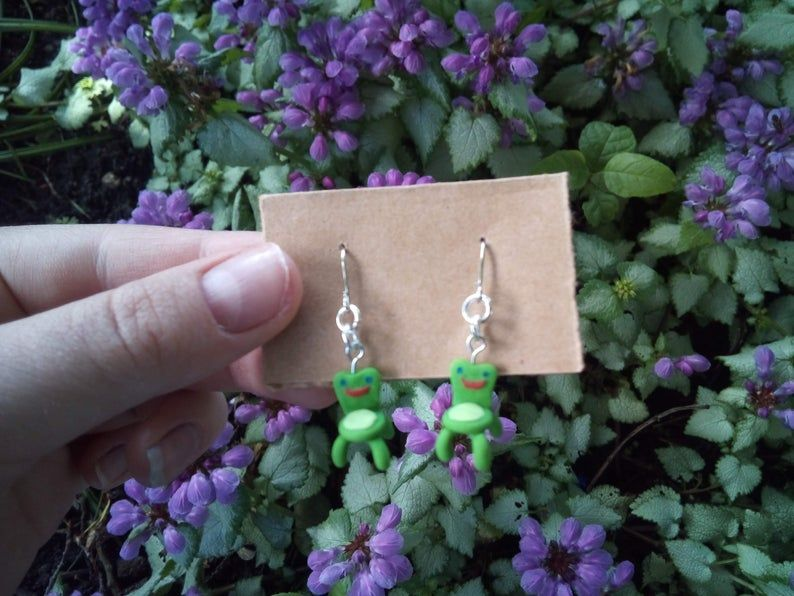 Froggy Chair Animal Crossing Earrings Etsy In 2020 Etsy Earrings Polymer Clay Jewelry Diy Clay Jewelry Diy