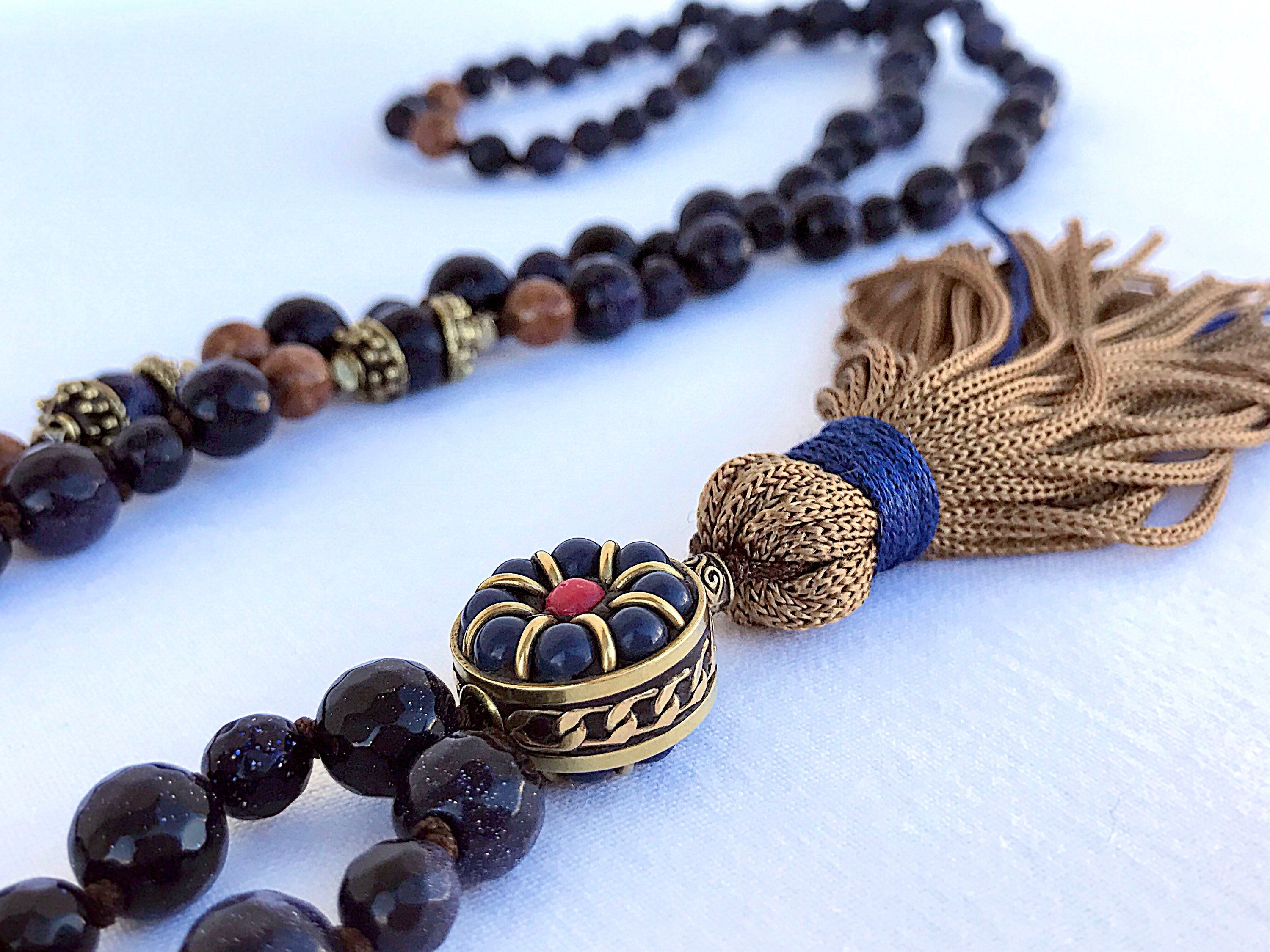 photo black products ombr necklace mala rhodonite ombre mishkasamuel tourmaline yoga