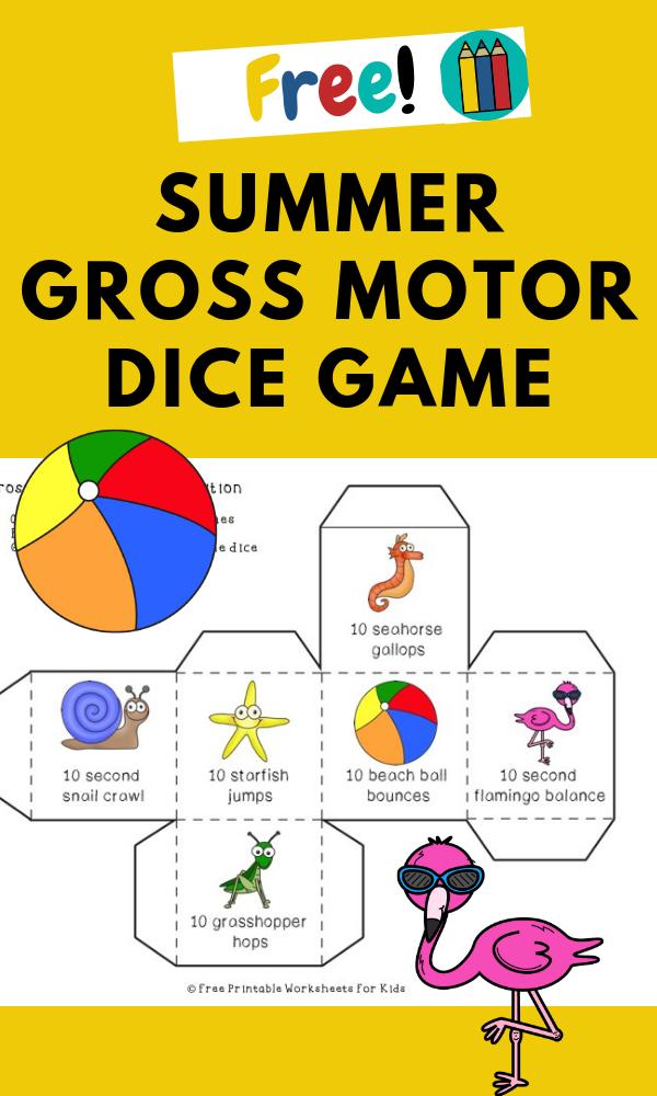Summer Edition Gross Motor Dice Free Printable Worksheets For Kids 6 Different S Kids Worksheets Printables Worksheets For Kids Summer Preschool Activities