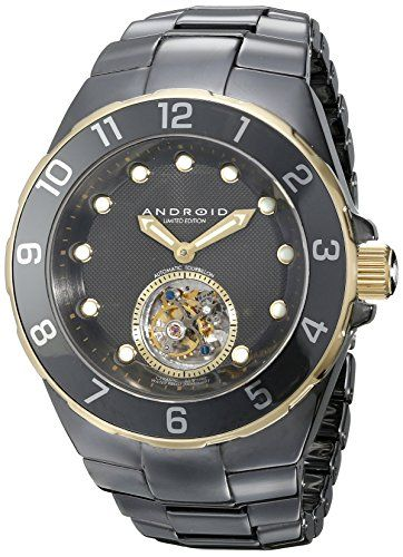 Men's Wrist Watches - ANDROID Mens AD650AGK Hercules SelfWind Black Ceramic Watch * Check out this great product.