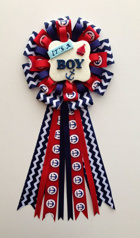 nautical anchor baby shower corsage itu0027s a boy pin mommy to be ahoy clay favor red navy blue chevron ribbon sailing mom capia grandma mum