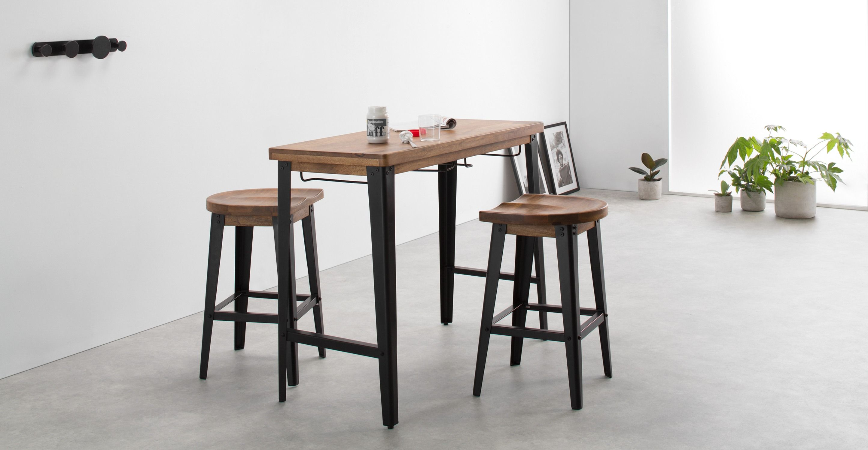 Darby Bar Table And Stools Set Mango Wood Black