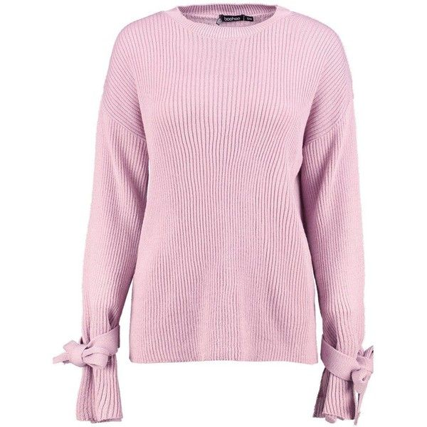 Boohoo Katie Tie Cuff Rib Knit Jumper (205 HKD) ❤ liked on Polyvore  featuring. Marled SweaterPink ...