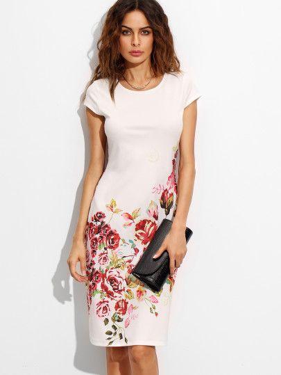 00b3c20546 White Rose Print Cap Sleeve A Line Dress -SheIn(Sheinside) Mobile Site