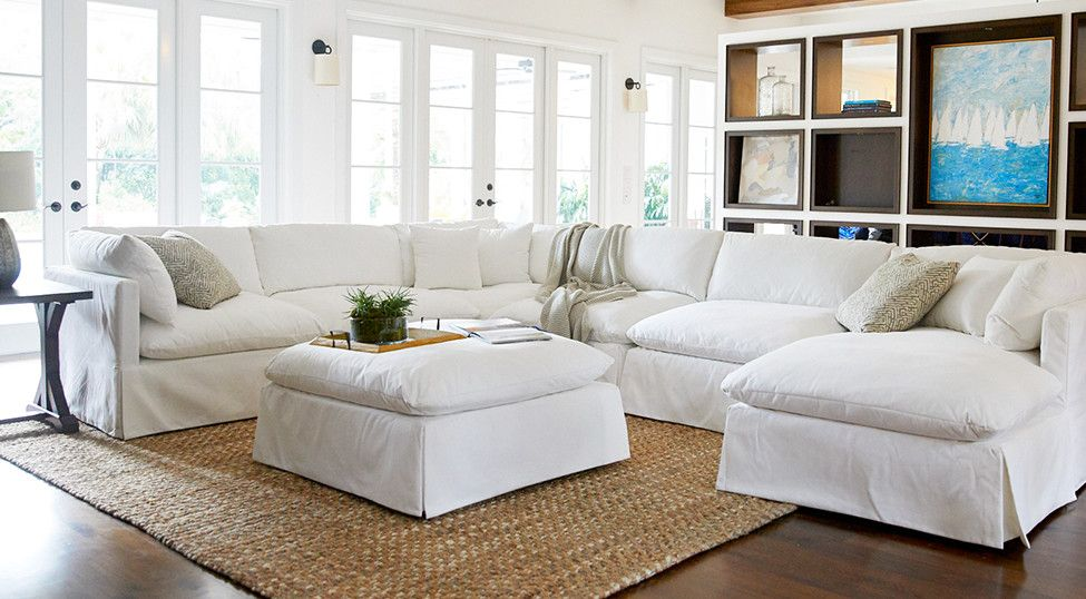 Raegan White Fabric Small Right Chaise Sectional Contemporary Living Room Sectional Family Room Decorating