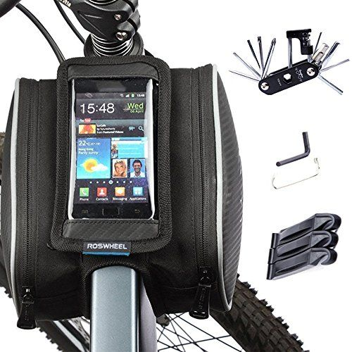 "Roswheel Bicycle Bike Front Top Tube Frame Pannier Double Bag Pouch for 5/"" phone"
