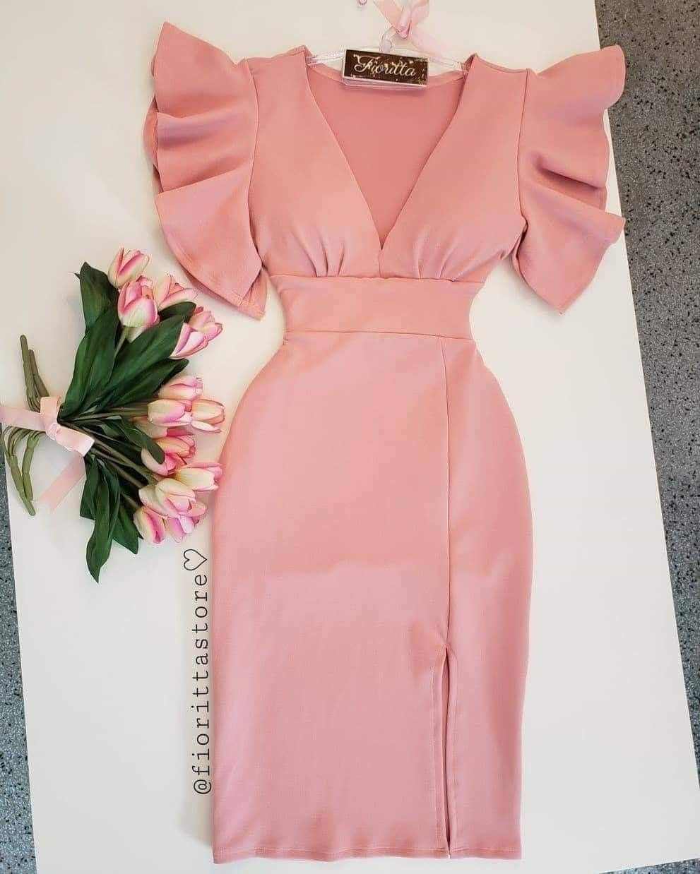 Robe Simple Classique Chic Class Rose Cute Dresse Classy Dress Outfits African Print Fashion Dresses African Fashion Dresses