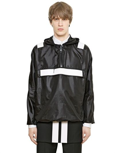 GIVENCHY BANDS ON HOODED NYLON WINDBREAKER JACKET £860.00 at luisaviaroma --------------------------------------- Super lightweight nylon fabric Non detachable hood with drawstring Front zip closure Elastic cuffs and hem White rubberized bands Sample size: 50 100%PL  PRE-ORDER > IN ARRIVAL BY APRIL 2015