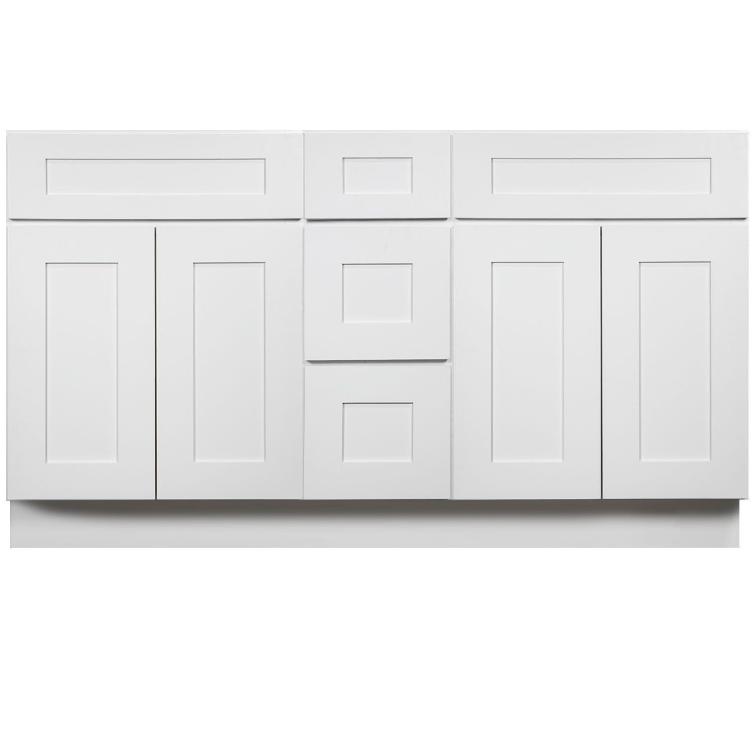 60 Inch Bathroom Vanity Double Sink Cabinet In Shaker White With