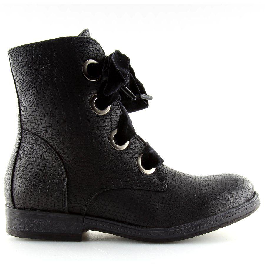 Botki Glany Sznurowane Czarne Hfn 5505 Black Boots Shoes Wedge Boot