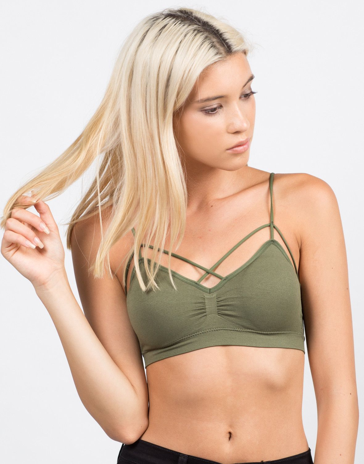ae9cb181994 Front View of Padded Cross Strappy Bralette