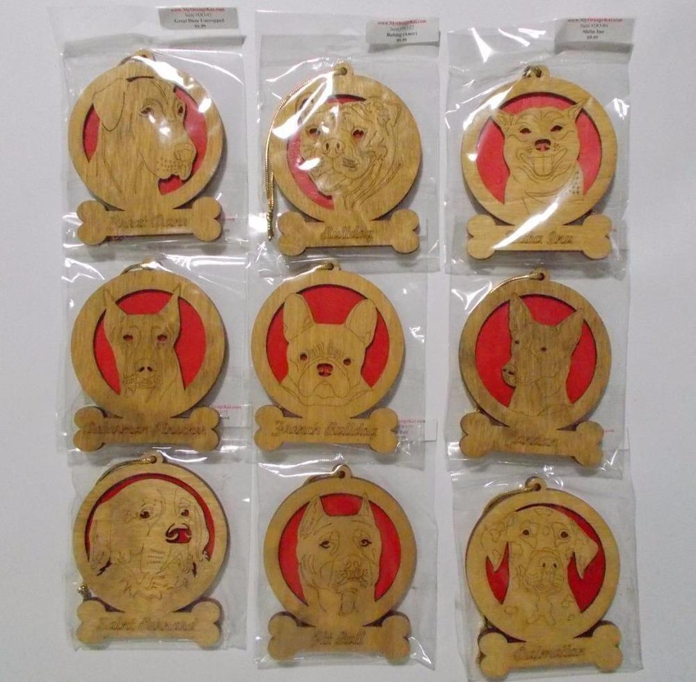 Big Dog Breeds Wood Wooden Christmas Ornament Lot of 9 Laser Die Cut Pitbull Bulldog More #OrangeKat #LaserDieCut