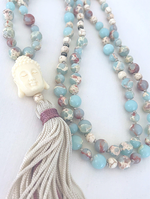 Buddha Mala Necklace Agate Buddhist Mala Boho Tassel Necklace Yoga Mala Meditation Necklace 108 Mala Beads Knotted Gemstones Necklace By Kati Mala Necklace
