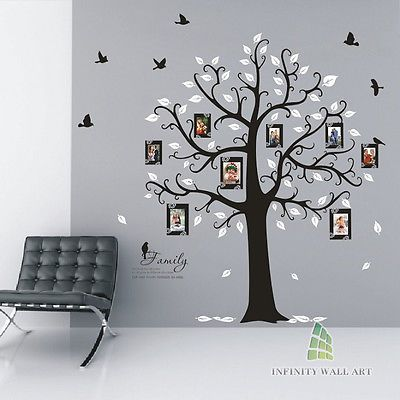 Family Tree Birds Photo Frame Quotes Tree Wall Stickers,Wall Art Decals--- PD538