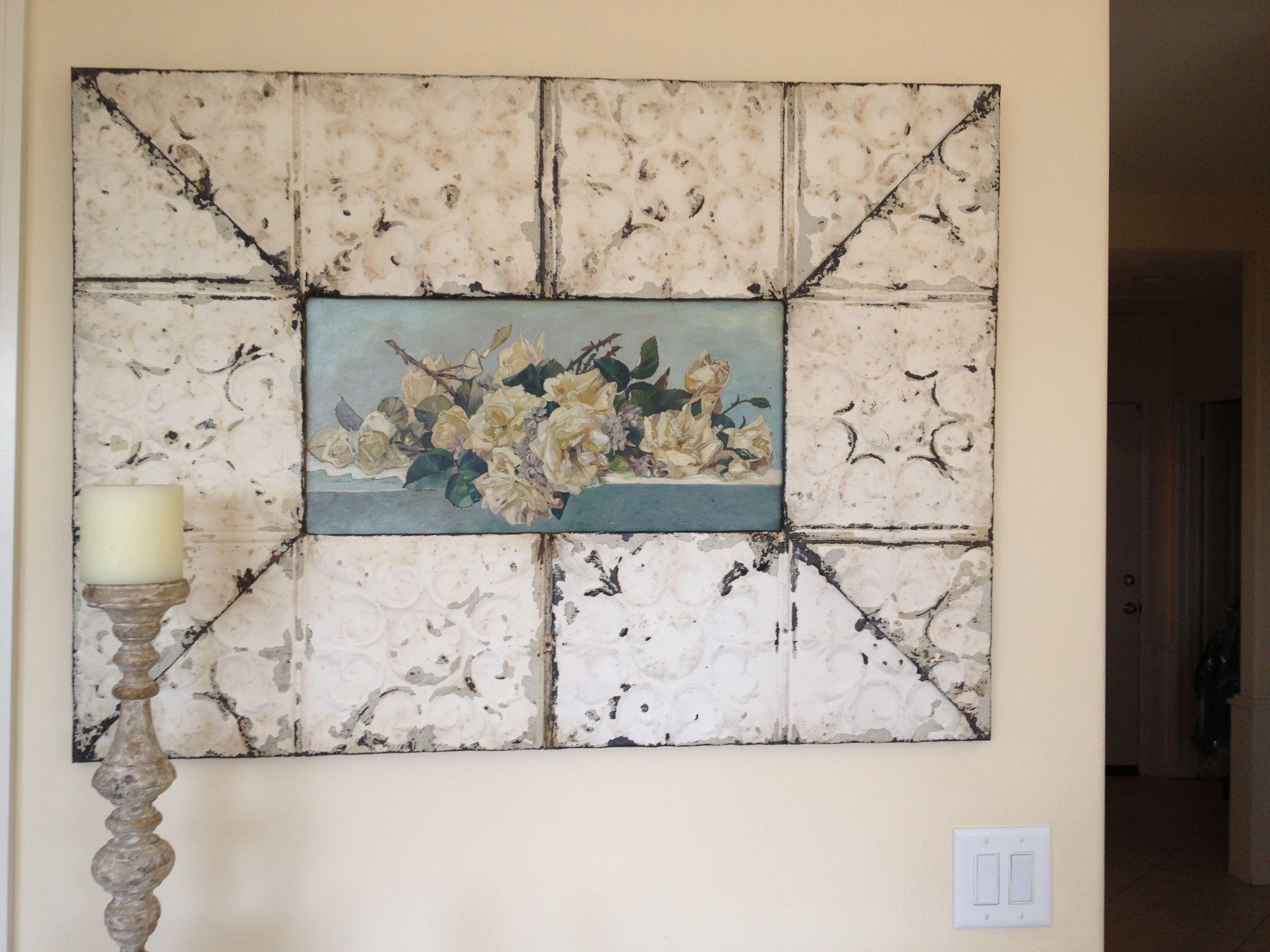 Roses Oil Painting In Tin Frame Rose Oiloil Paintingswall Decorshabby