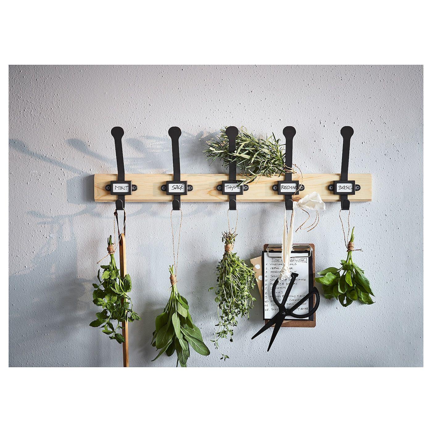 Kartotek Rack With 5 Hooks Pine Gray In 2020 Herb Drying Racks Herb Rack Hanging Herbs