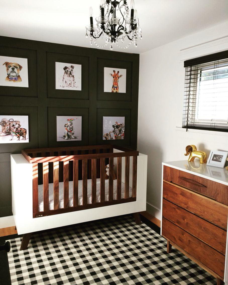 Mid Century Modern Nursery w/ Bulldogs crib by Fleetham ...