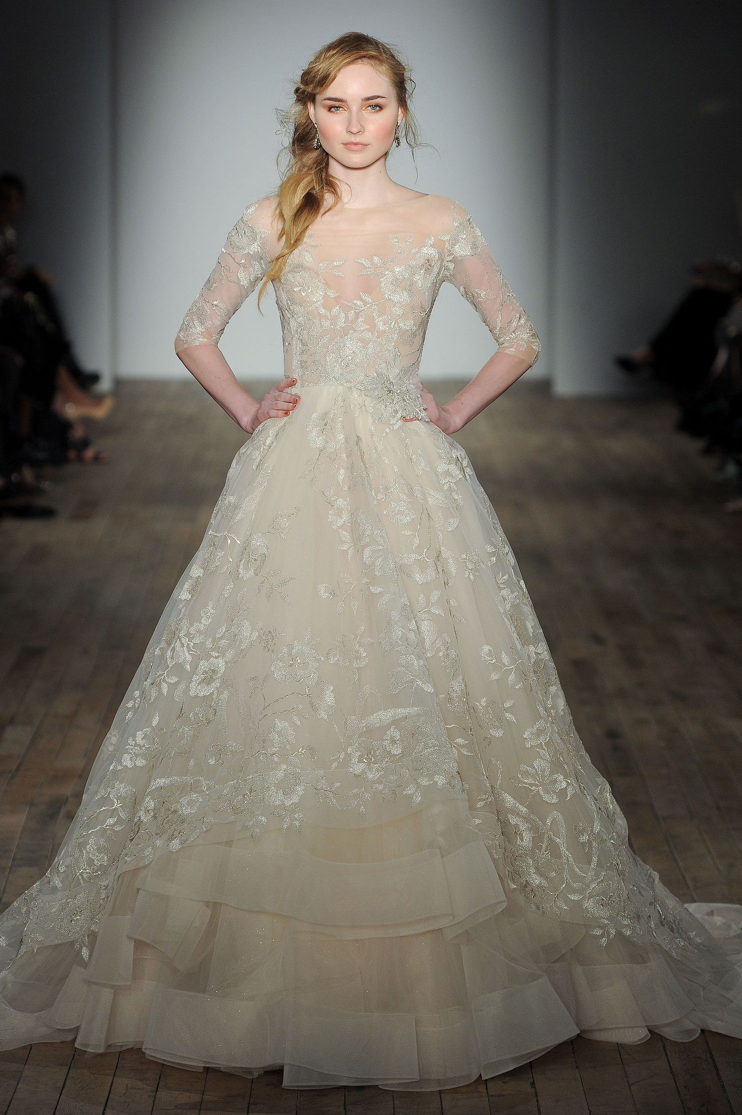Style 3758 Tulle Ball Gown With An Illusion Off The Shoulder Neckline Three Quarter Length Sleeves And A Jeweled Flower