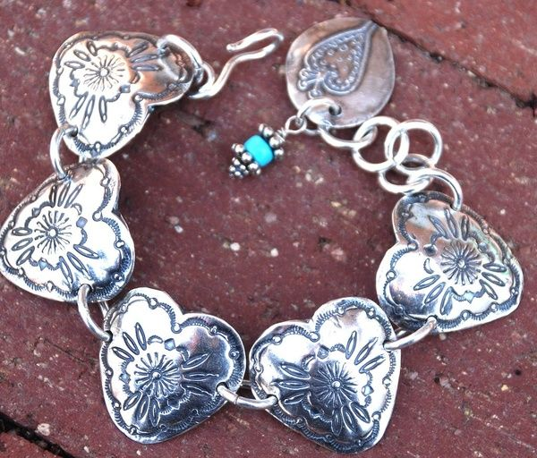 Everyone, I just got some amazing brand name purses,shoes,jewellery and a nice dress from here for CHEAP! If you buy, enter code:atPinterest to save http://www.superspringsales.com -   Fine silver Heart Concho Western Bracelet.  This was a labor of love!