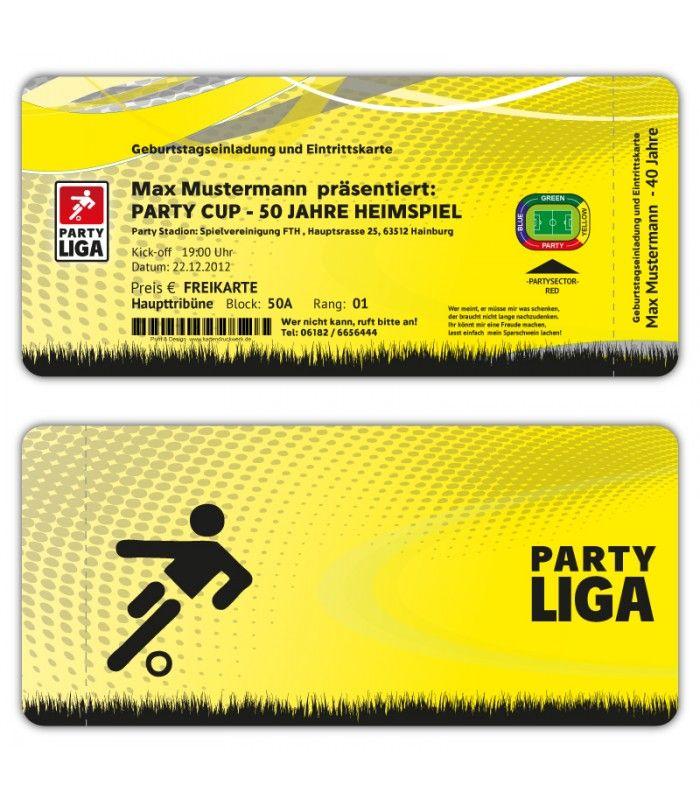 Einladungskarten Geburtstag als Fussball Ticket Eintrittskarte ...