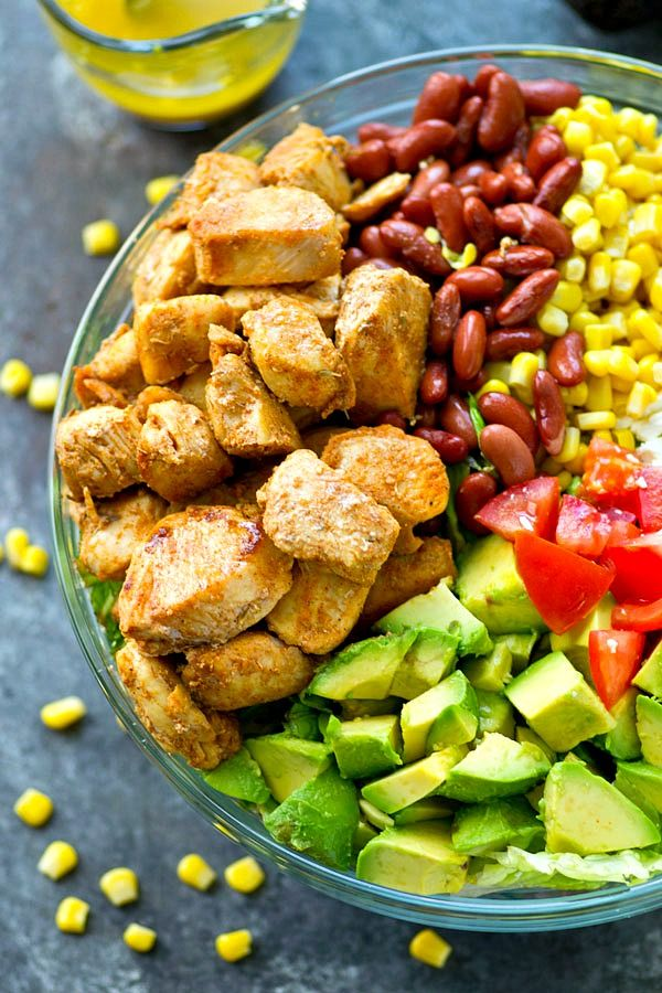Flavorful blackened chicken, avocado, and tons of other Mexican-style goodness collide in this loaded Mexican salad that is SO easy to throw together---you'll be making it all summer!