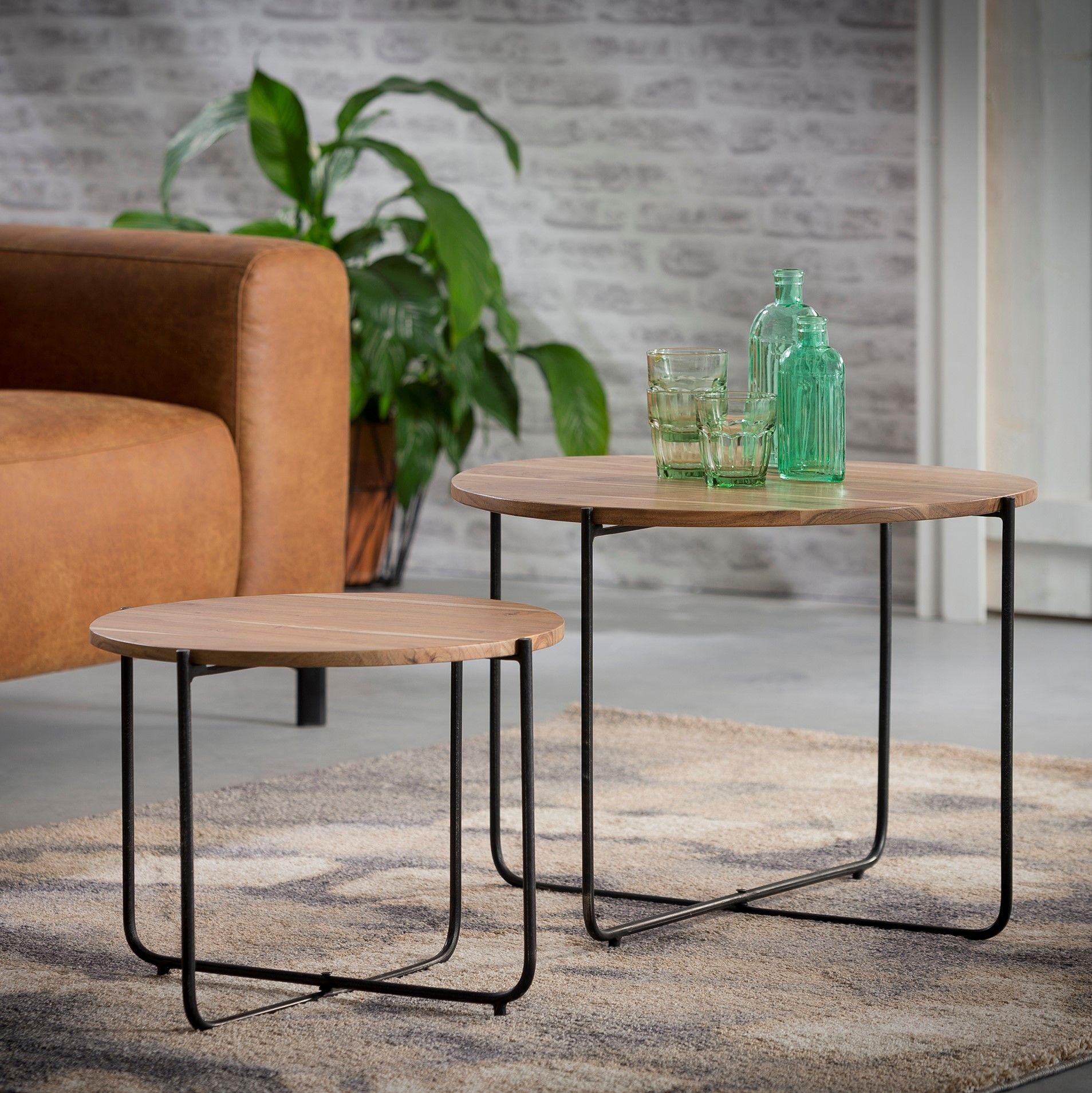 Beistelltisch Boven Beistelltisch Tisch Holz Massiv Akazie 2er