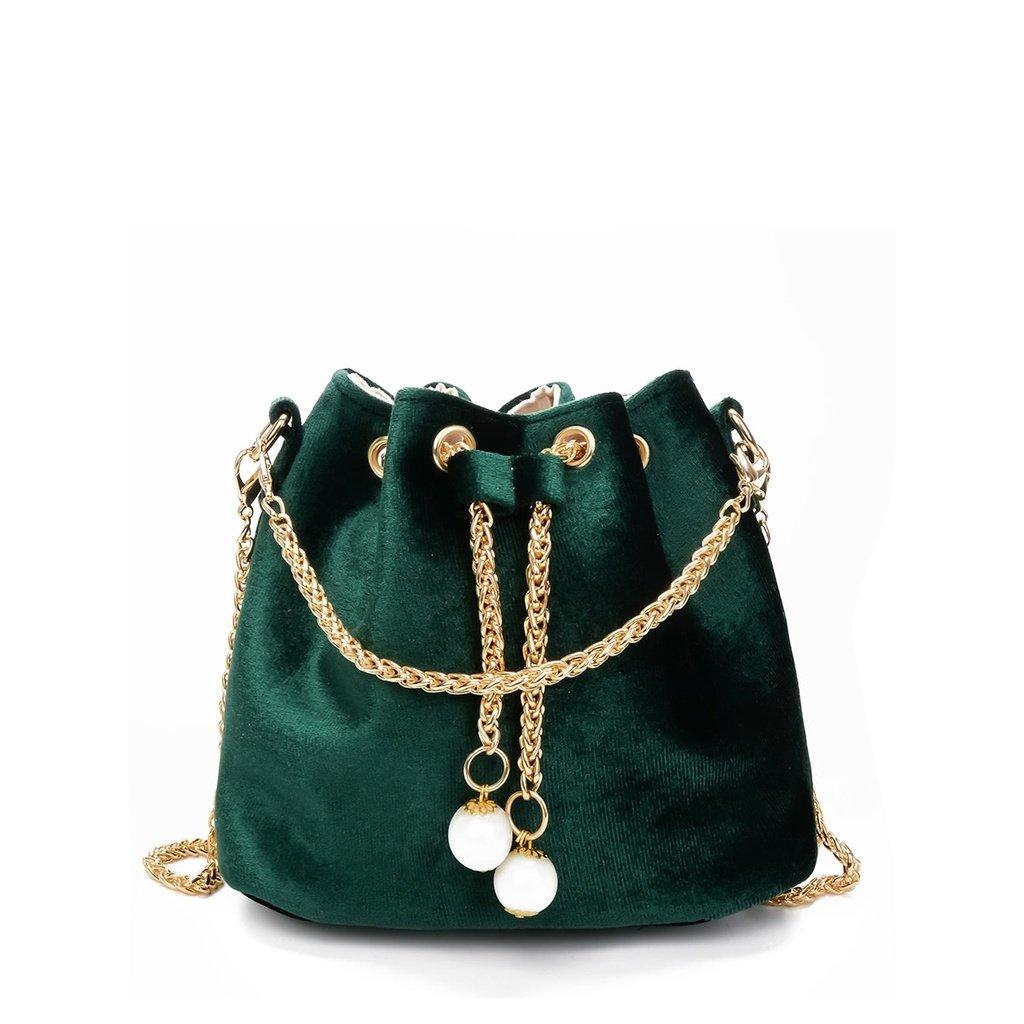 Chain Detail Velvet Bucket Bag Lv Onlineshop Fashionista Gucci Accessories Style Kuwait Uae Qatar Celin Bucket Bag Velvet Bag