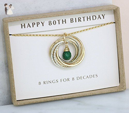 80th Wedding Anniversary Gift: 80th Birthday Gift For Grandma, Emerald Necklace For Mom